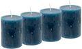 4 Rustic Stumpenkerzen Kerzen Blau Petrol Tischdeko Party Deko Adventskerzen 1