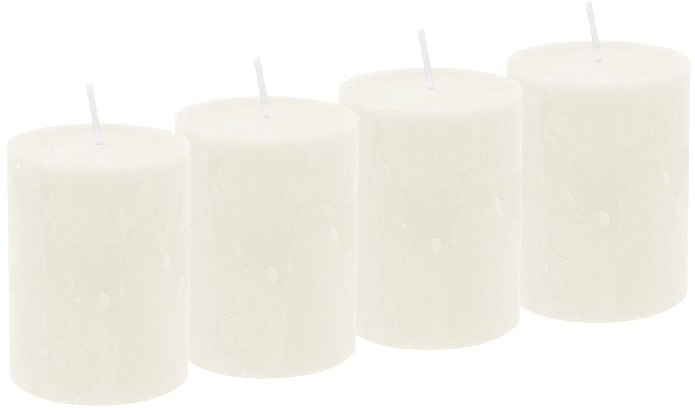 4 Rustic Stumpenkerzen Kerzen Creme Tischdeko Party Deko Adventskerzen
