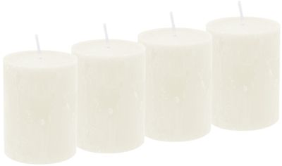 4 Rustic Stumpenkerzen Kerzen Creme Tischdeko Party Deko Adventskerzen