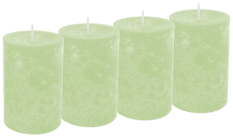 4 Stumpenkerzen Kerzen Grün Hellgrün Tischdeko Hochzeit Geburtstag Party Deko Adventskranz