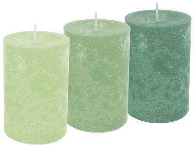 3 Stumpenkerzen Kerzen Mix Grün Mint Smaragd Tischdeko