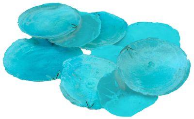 Capiz Muschel Blau Türkis Perlmuttscheiben Maritime Deko 10 Stück Tischdeko Basteln