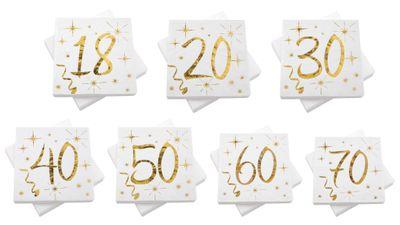 Servietten Tischdeko Geburtstag Zahlen Gold Weiß 18 20 30 40 50 60 70