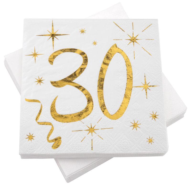 Servietten Tischdeko Geburtstag Zahlen Gold Weiß 18 20 30 40 50 60 70 Party