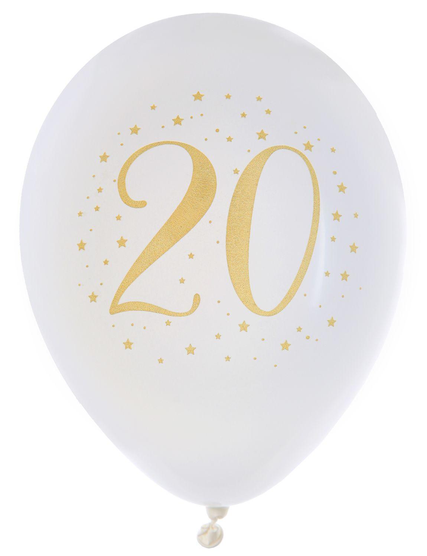 Luftballon Zahlenballon Geburtstag Zahlen Weiß Gold Metallic Partydeko Raumdeko