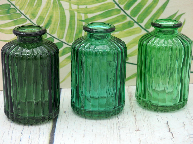 3 Vasen Glasflaschen Grün Mix Tischdeko Deko Kommunion Konfirmation