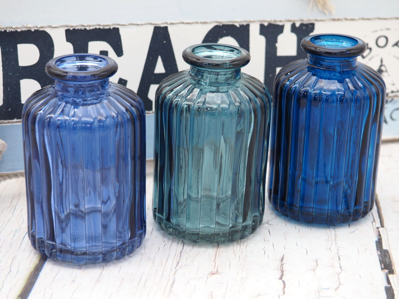 3 Vasen Glasflaschen Blau Mix Tischdeko Deko Kommunion Konfirmation