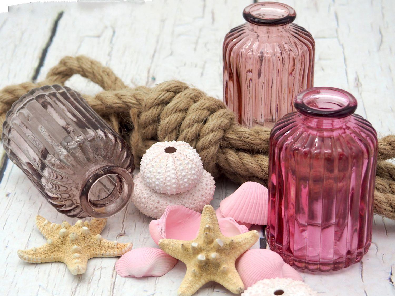 3 Vasen Glasflaschen Rosa Mauve Mix Tischdeko Deko Taufe Kommunion Konfirmation