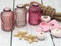 3 Vasen Glasflaschen Rosa Mauve Mix Tischdeko Deko Taufe Kommunion Konfirmation 8