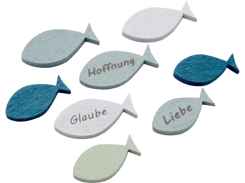 Tischdeko Streudeko Fische Holz Holzfische Blau Grün Glaube Liebe Hoffnung Kommunion Konfirmation 8 Stück
