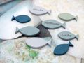 Tischdeko Streudeko Fische Holz Holzfische Blau Grün Glaube Liebe Hoffnung Kommunion Konfirmation 8 Stück 2