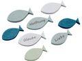 Tischdeko Streudeko Fische Holz Holzfische Blau Grün Glaube Liebe Hoffnung Kommunion Konfirmation 8 Stück 1