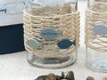 Tischdeko Kommunion Konfirmation Petrol Beige Blau Vasen Streudeko SET 20 Personen  5