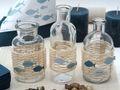 Tischdeko Kommunion Konfirmation Petrol Beige Blau Vasen Streudeko SET 20 Personen  2