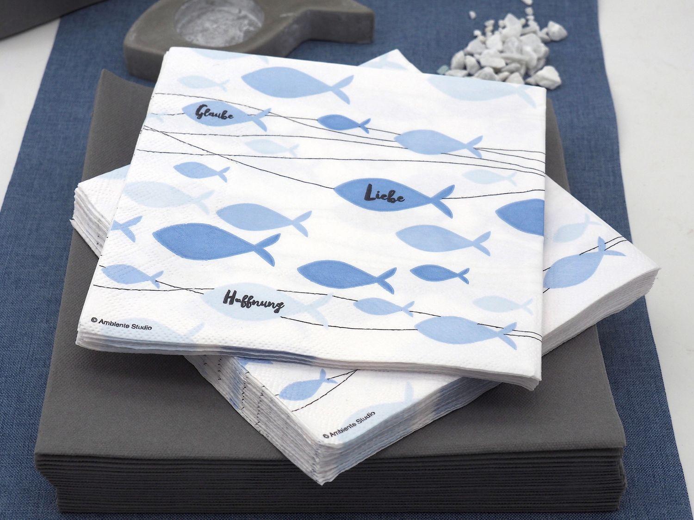 Servietten Fisch Blau Glaube Liebe Hoffnung Tischdeko Kommunion Konfirmation 20 Stück