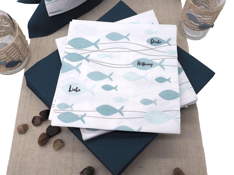 Servietten Fisch Mint Grün Glaube Liebe Hoffnung Tischdeko Kommunion Konfirmation 20 Stück