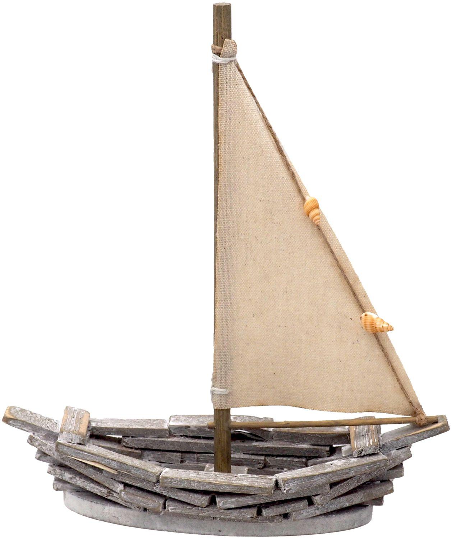 Deko Figur Segelboot Boot Holz Natur Grau Muscheln Maritim Deko Segeln