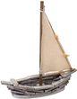 Deko Figur Segelboot Boot Holz Natur Grau Muscheln Maritim Deko Segeln  1