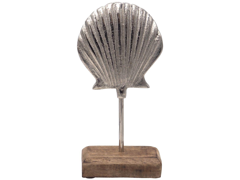 Figur Muschel auf Ständer Aufsteller Tischaufsteller Aluminium Silber Tischdeko Maritime Deko