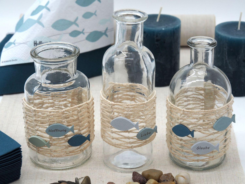 Vasen Tischdeko Fisch Blau Netz Maritim Deko Kommunion Konfirmation Glaube Liebe Hoffnung SET