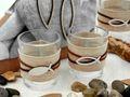 Tischdeko Kommunion Konfirmation Natur Braun Fisch Stein Holz SET 20 Personen  7