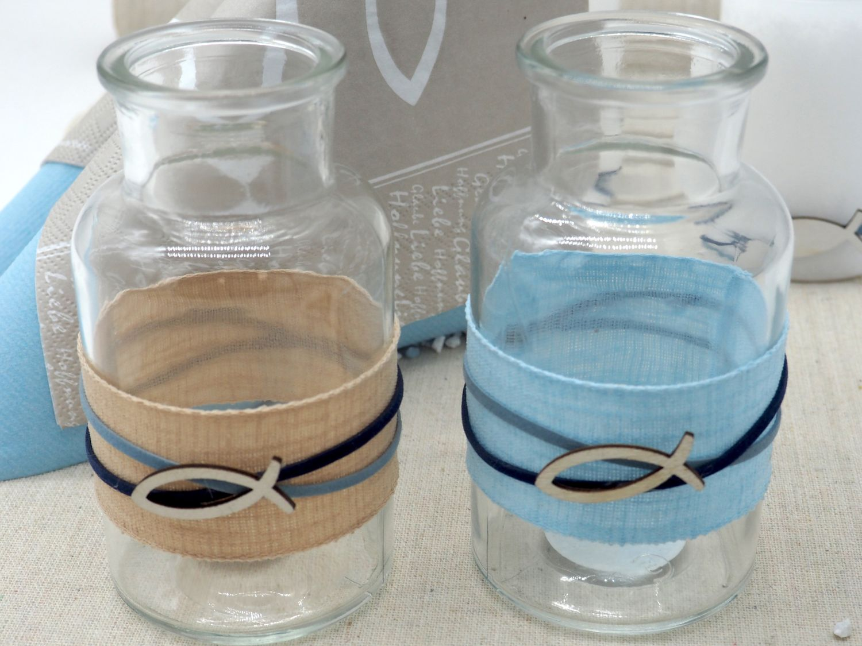 Tischdeko Kommunion Konfirmation Hellblau Blau Natur Taupe Fisch Holz SET 20 Personen