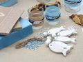 Tischdeko Kommunion Konfirmation Hellblau Blau Natur Taupe Fisch Holz SET 20 Personen  4