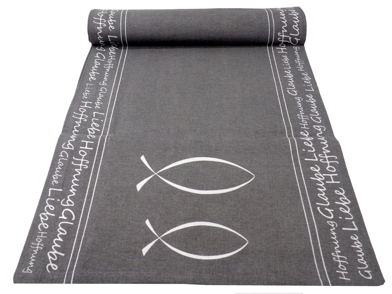 Tischläufer Tischband Grau Tischdeko Kommunion Konfirmation Fisch Glaube Hoffnung Liebe Baumwolle