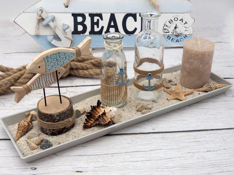 Tischdeko Maritime Deko Tablett Vasen Sommer Fische Grau Blau Braun Kerze Garten Terrasse