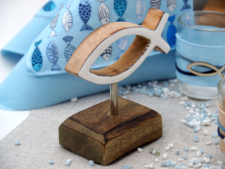 Tischdeko Kommunion Konfirmation Hellblau Blau Grau Fisch Holz Tischaufsteller SET Aufsteller 20 Personen