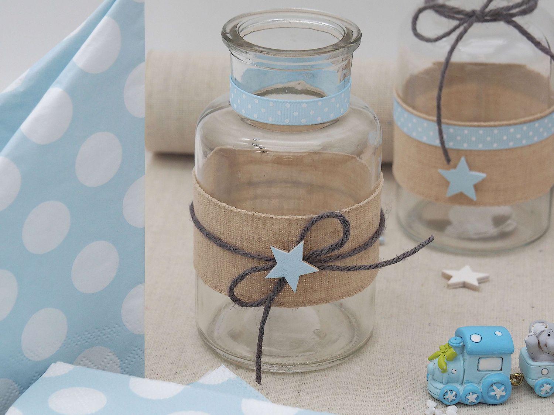 Tischdeko Taufe Junge Blau Vasen Stern Leinen Hellblau Deko Baby 2 Stück