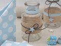 Tischdeko Taufe Junge Blau Vasen Stern Leinen Hellblau Deko Baby 2 Stück 2