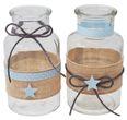 Tischdeko Taufe Junge Blau Vasen Stern Leinen Hellblau Deko Baby 2 Stück 1