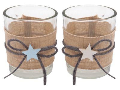 Kerzenhalter Teelichthalter Tischdeko Teelichtgläser Taufe Stern Hellblau Blau Leinen 2 Stück