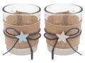 Kerzenhalter Teelichthalter Tischdeko Teelichtgläser Taufe Stern Hellblau Blau Leinen Baby Deko 2 Stück 1