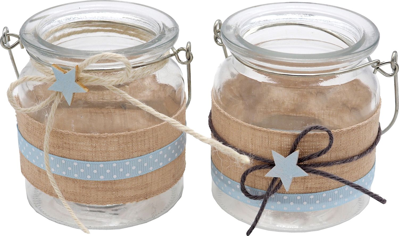 Windlicht Glas Tischdeko Kerzenhalter Hellblau Blau Stern Leinen Taufe Geburt Deko Teelichthalter 2 Stück