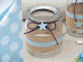 Windlicht Glas Tischdeko Kerzenhalter Hellblau Blau Stern Leinen Taufe Geburt Deko Teelichthalter 2 Stück 2