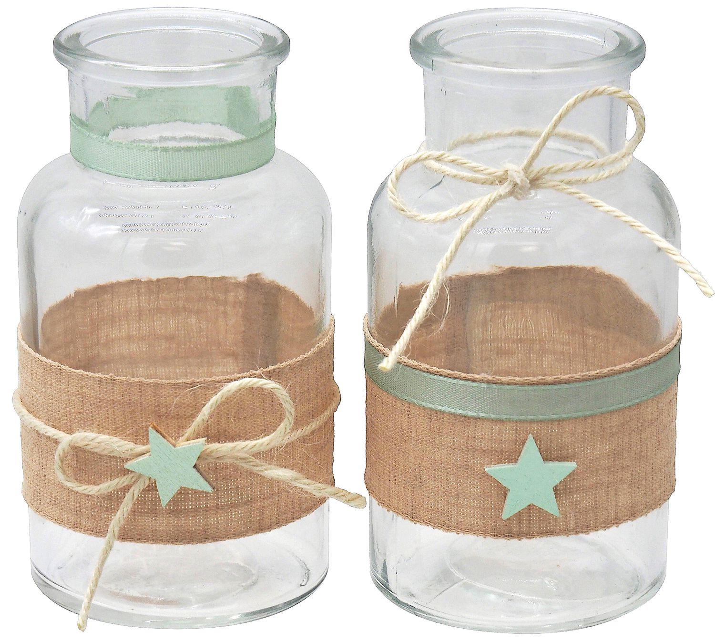 Vase Tischdekoration Stern Leinen Mint Grün Taufe Junge Mädchen Deko Baby 2 Stück