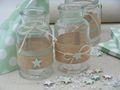 Vase Tischdekoration Stern Leinen Mint Grün Taufe Junge Mädchen Deko Baby 2 Stück 2