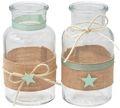 Vase Tischdekoration Stern Leinen Mint Grün Taufe Junge Mädchen Deko Baby 2 Stück 1