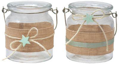 Windlicht Glas Tischdeko Kerzenhalter Mint Grün Leinen Taufe Baby Deko 2 Stück