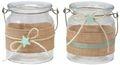 Windlicht Glas Tischdeko Kerzenhalter Mint Grün Leinen Taufe Baby Deko Teelichthalter 2 Stück 1