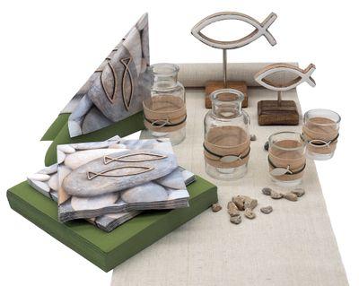 Tischdeko Kommunion Konfirmation Natur Grün Stein Holz Fisch Tischaufsteller SET