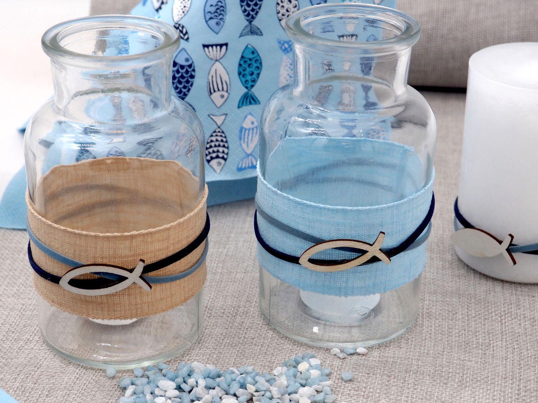 Vase Tischdeko Fisch Leinen Natur Blau Kommunion Konfirmation Maritim Deko 2 Stück