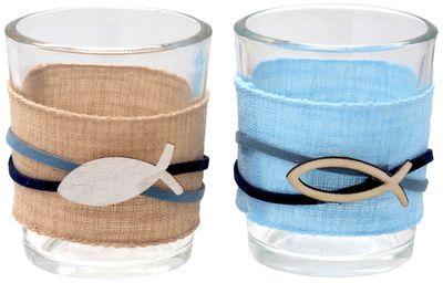 Kerzenhalter Teelichthalter Tischdeko Teelichtgläser Fisch Blau Natur Kommunion Konfirmation Maritim 2 Stück