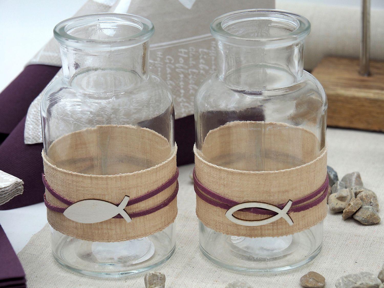 Vase Tischdeko Fisch Leinen Natur Mauve Kommunion Konfirmation 2 Stück