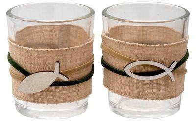 Kerzenhalter Teelichthalter Tischdeko Teelichtgläser Fisch Grün Natur Kommunion Konfirmation 2 Stück