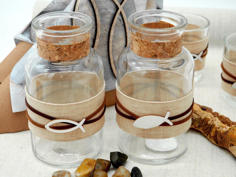 Vase Tischdekoration Fisch Leinen Natur Braun Kommunion Konfirmation 2 Stück