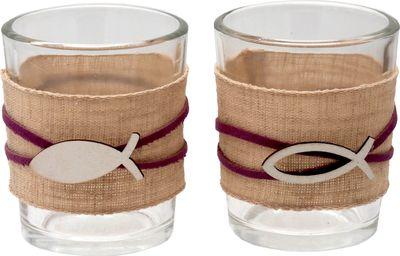 Kerzenhalter Teelichthalter Tischdeko Teelichtgläser Fisch Mauve Natur Kommunion Konfirmation 2 Stück