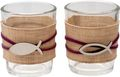 Kerzenhalter Teelichthalter Tischdeko Teelichtgläser Fisch Mauve Natur Kommunion Konfirmation 2 Stück 1